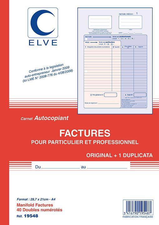Facturier auto entrepreneur carnet autocopiant dupli a4 elve e statuts - Creation d une sci familiale ...
