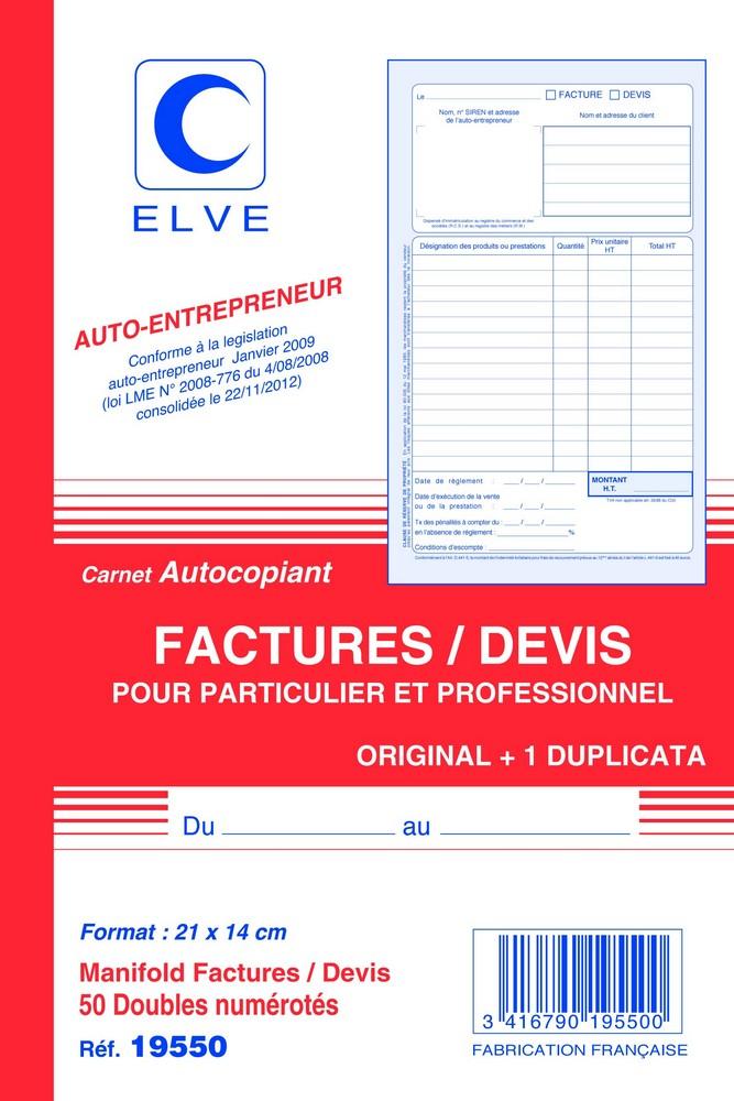 Facturier devis auto entrepreneur carnet autocopiant dupli a5 elve e statuts - Creation d une sci familiale ...