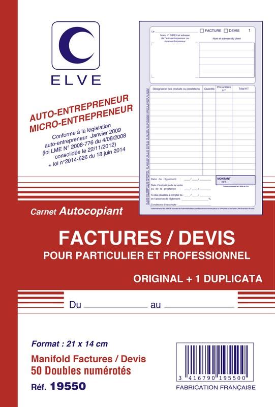 facturier devis micro entrepreneur carnet autocopiant dupli a5 elve 19550 e statuts. Black Bedroom Furniture Sets. Home Design Ideas