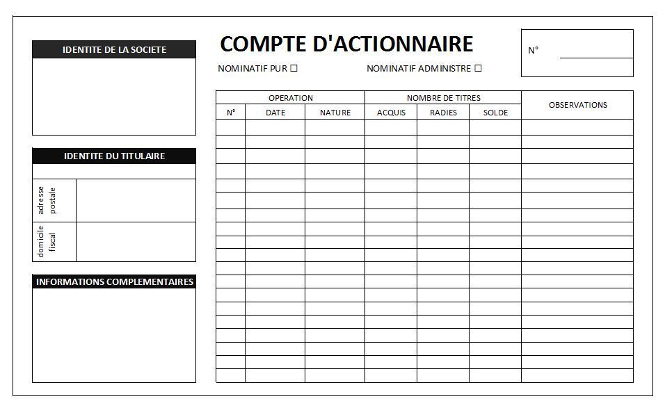 Fiche De Comptes Des Titres Des Actionnaires Le Dauphin